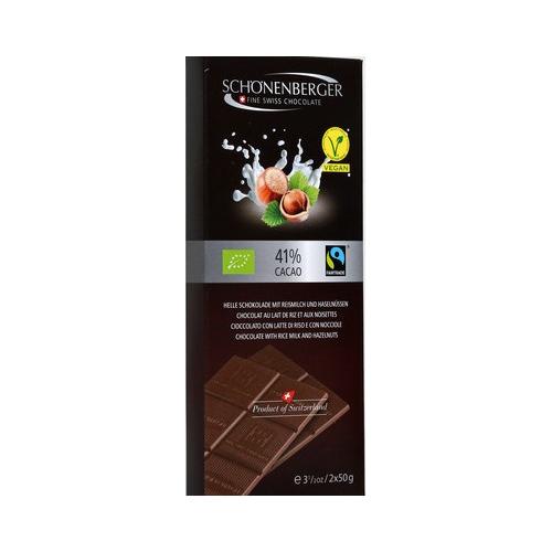 Helle Schokolade Reismilch Haselnuss vegan