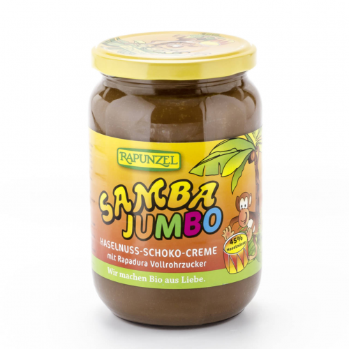 Samba Jumbo Haselnuss-Schoko-Creme 45% Haselnüsse Glas 750 g - Rapunzel