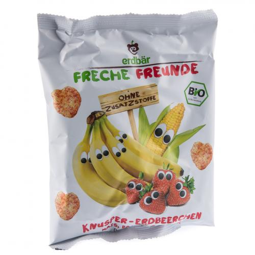 Knusper-Erdbeerchen Mais, Banane & Erdbeere Beutel 25 g - Freche Freunde