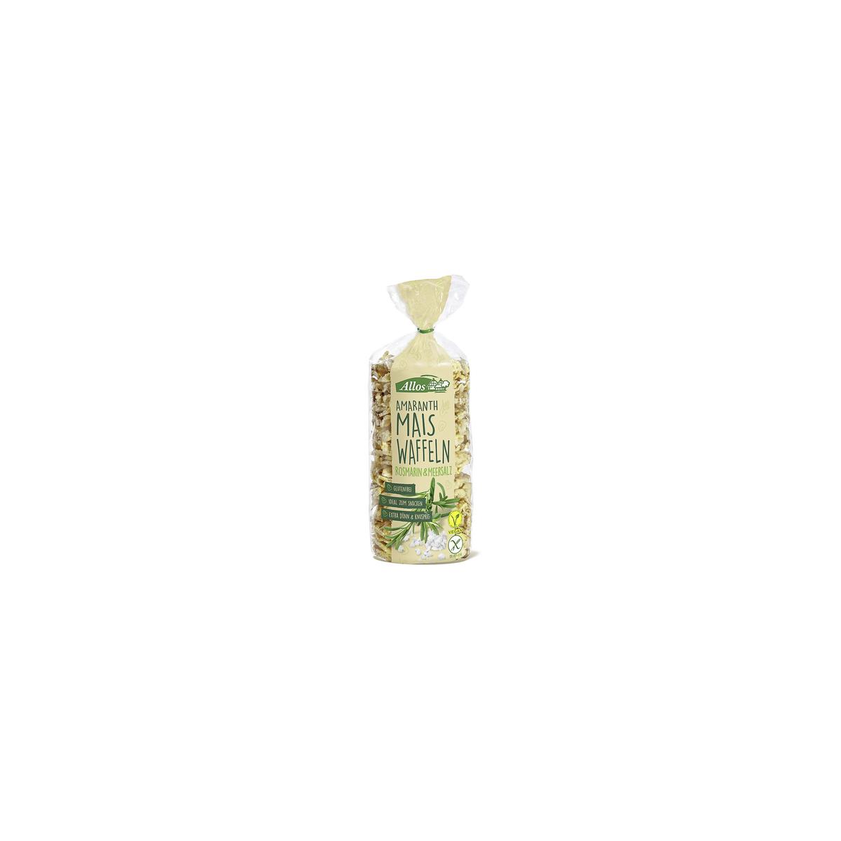Amaranth Mais-Waffeln Rosmarin & Meersalz Beutel 100 g - Allos