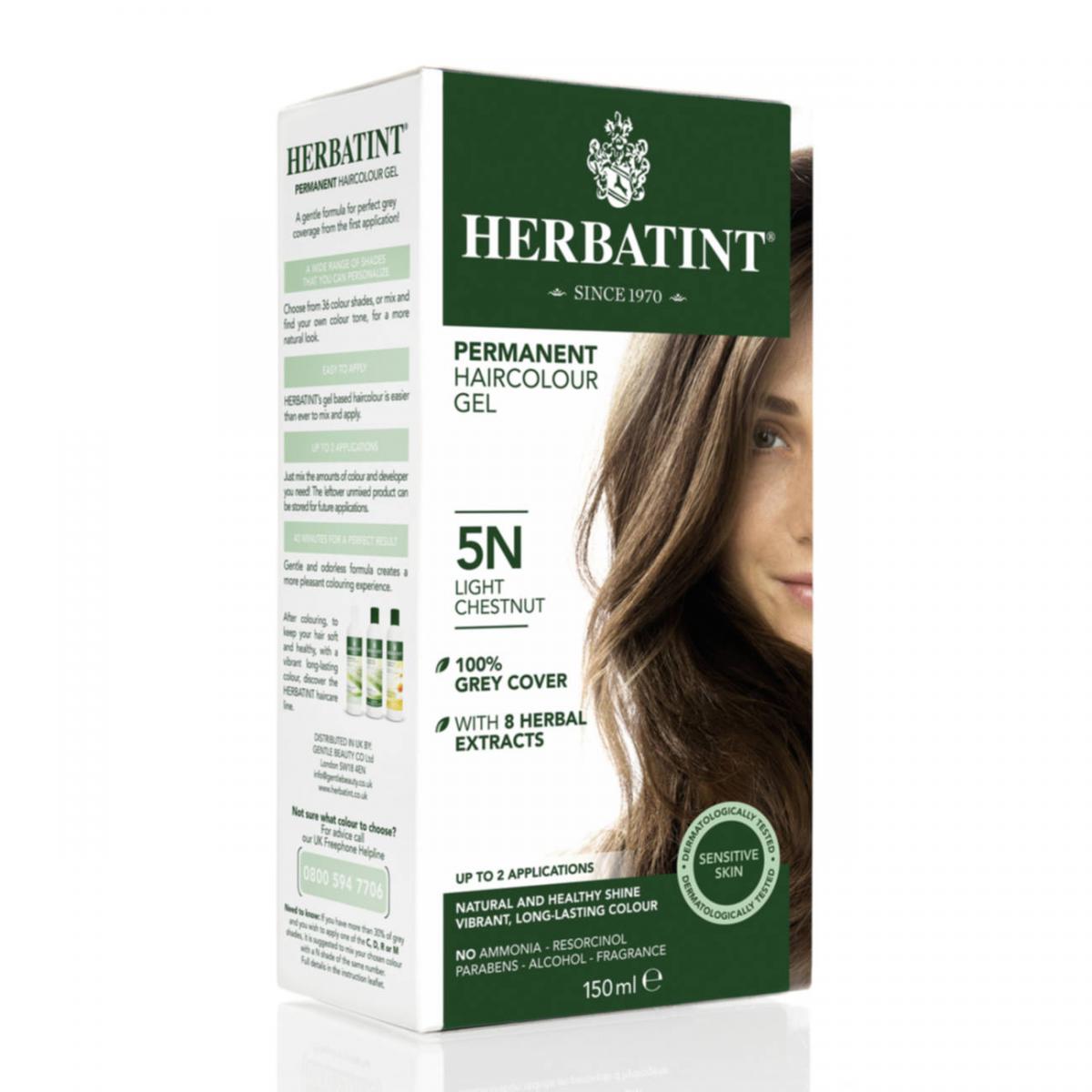 Haarfärbegel 5N Helles Kastanienbraun Flasche 150 ml/Plastik Einweg - Herbatint