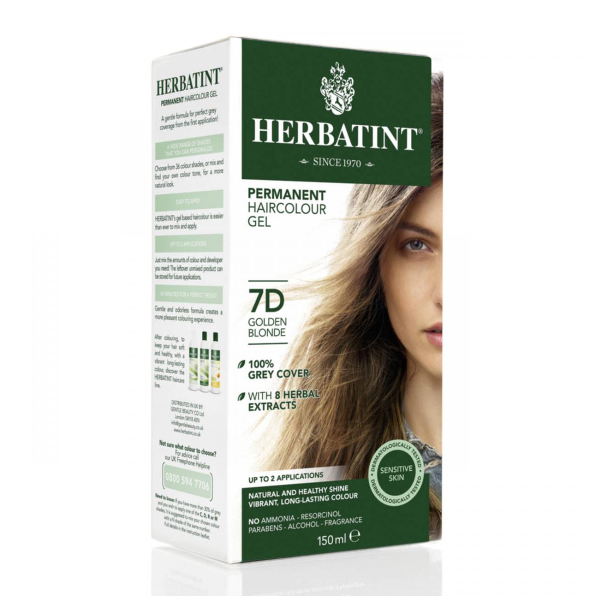 Haarfärbegel 7D Goldblond Flasche 150 ml/Plastik Einweg - Herbatint