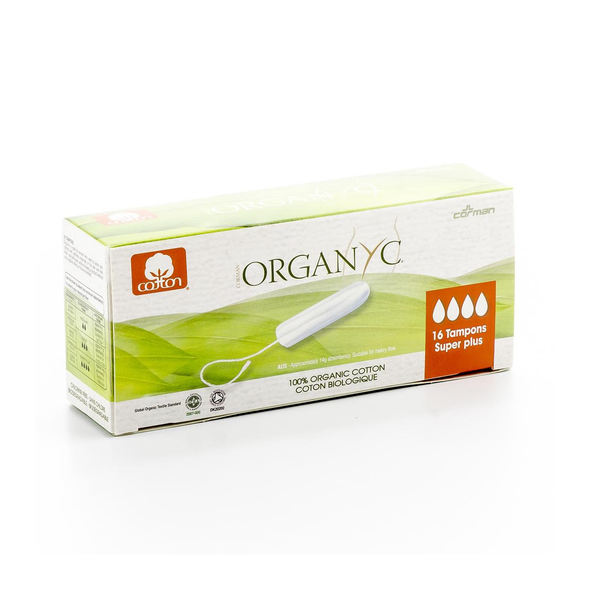 Tampons Super Plus aus 100% biologischer Baumwolle Pack 16 Stück - Organyc