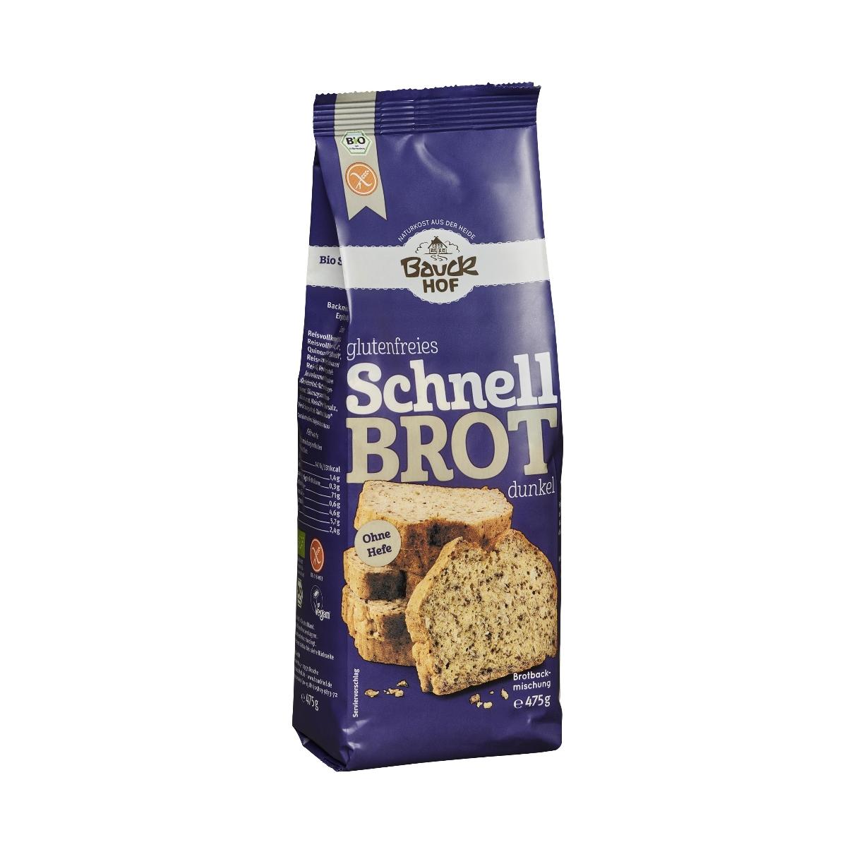 Bio Schnellbrot dunkel Brotmischung ohne Hefe glutenfrei