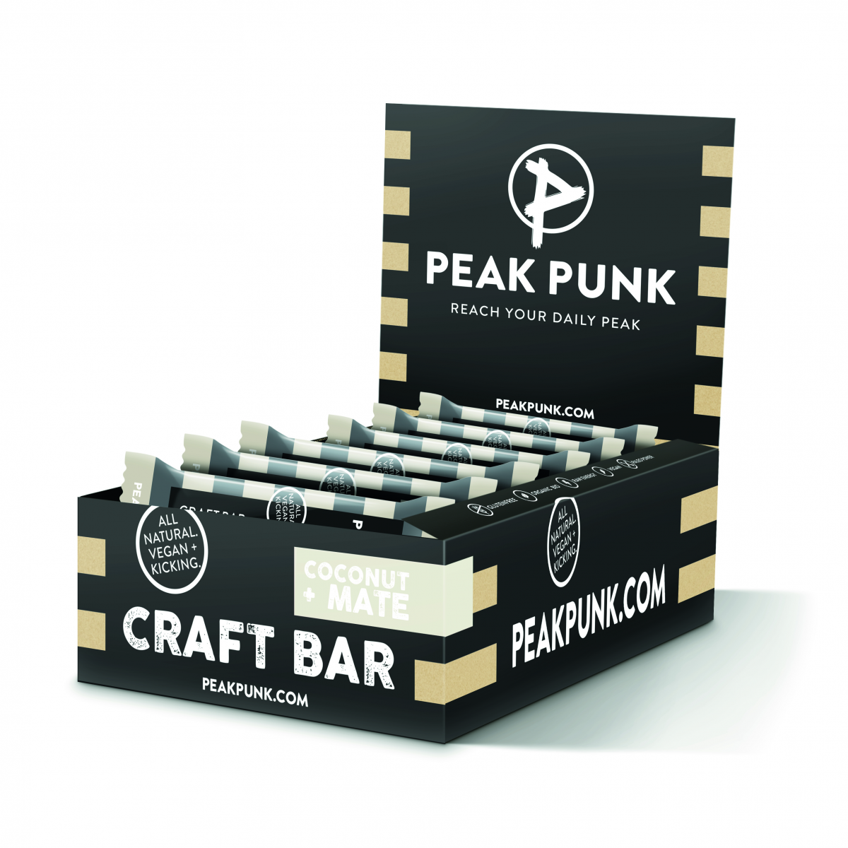 PEAK PUNK Display 15x38g Craft Bar Coconut Mate