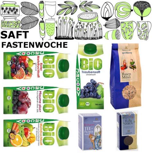 Saft Fastenwoche BOX, 11 Säfte & Tee