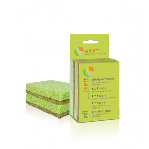 Spülschwamm Öko 2er Pack aus Cellulose, Sisal und Receycling-PET