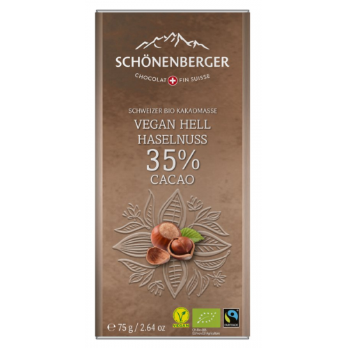 Bio Tafel Schokolade vegan Hell Haselnuss, 35%