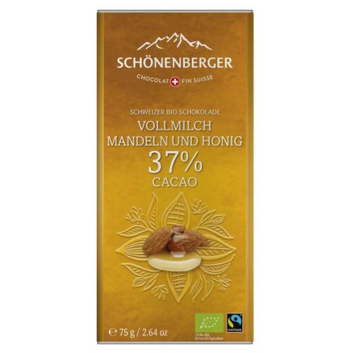 Bio Tafel Schokolade Honig-Mandel 37% Kakao
