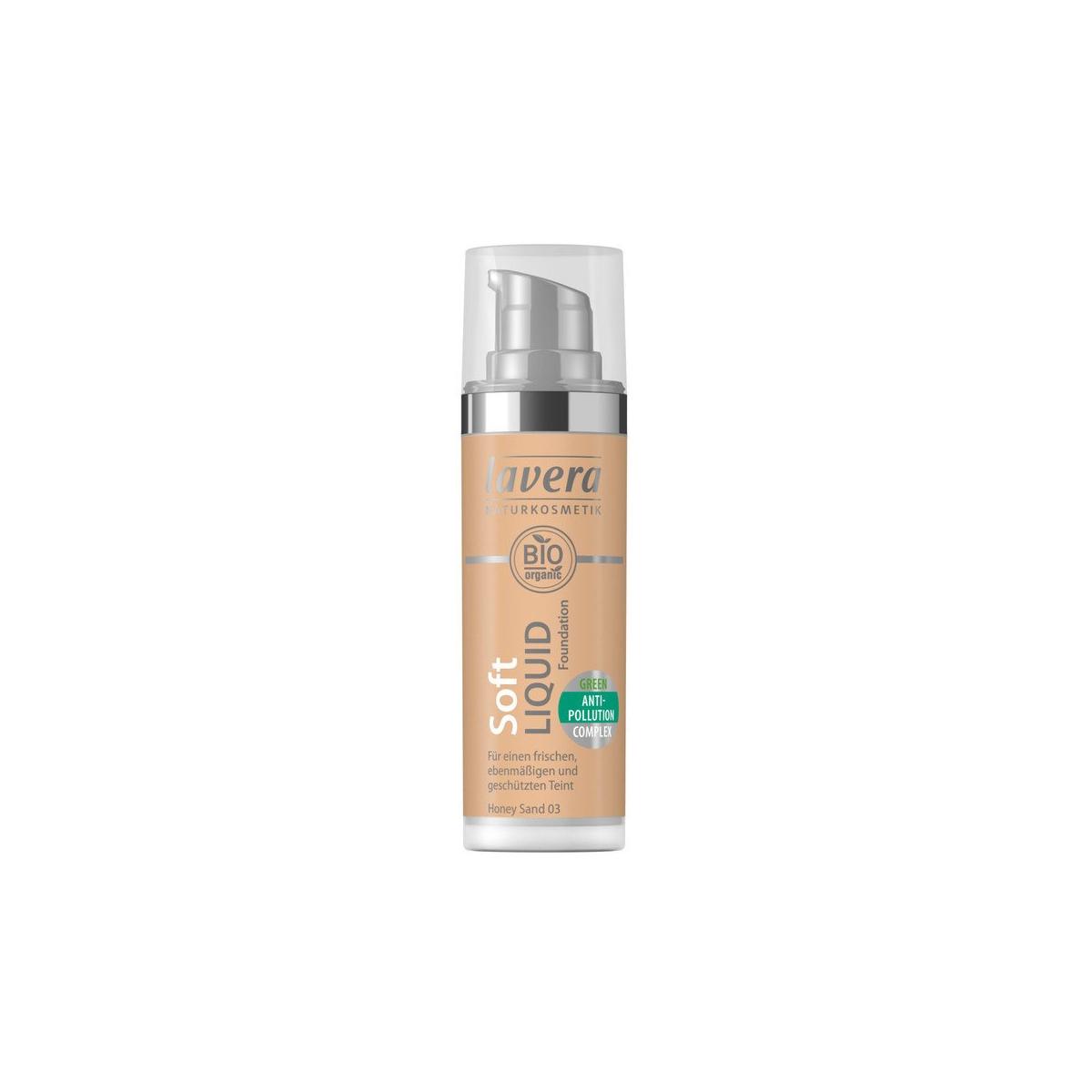 Soft Liquid Foundation -Honey Sand 03- Flasche 30 ml/Plastik Einweg - Lavera