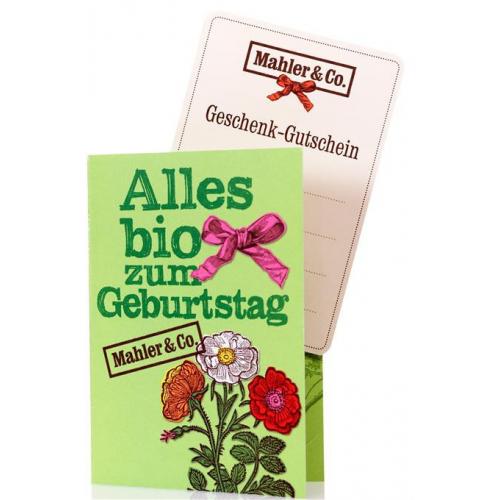 """Bio Geschenkgutschein """"Geburtstag"""" Fr. 100.-"""