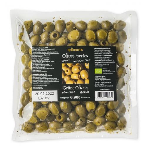 Grüne Oliven mariniert, ohne Stein