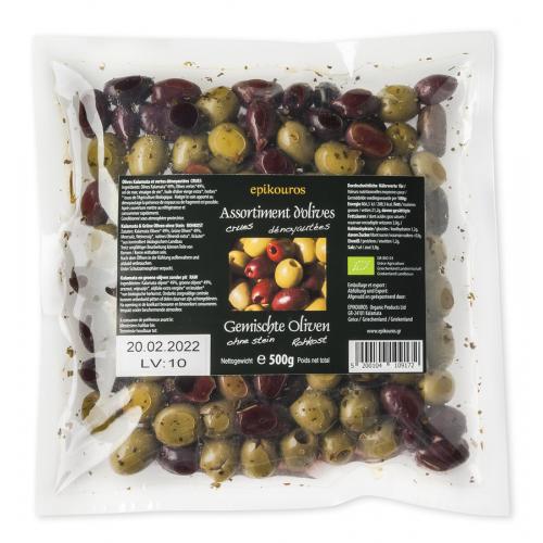Gemischte Oliven mariniert, ohne Stein