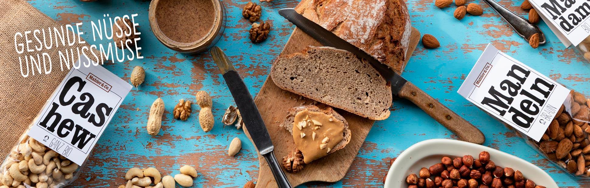 Gesunde Nüsse und Nussmuse