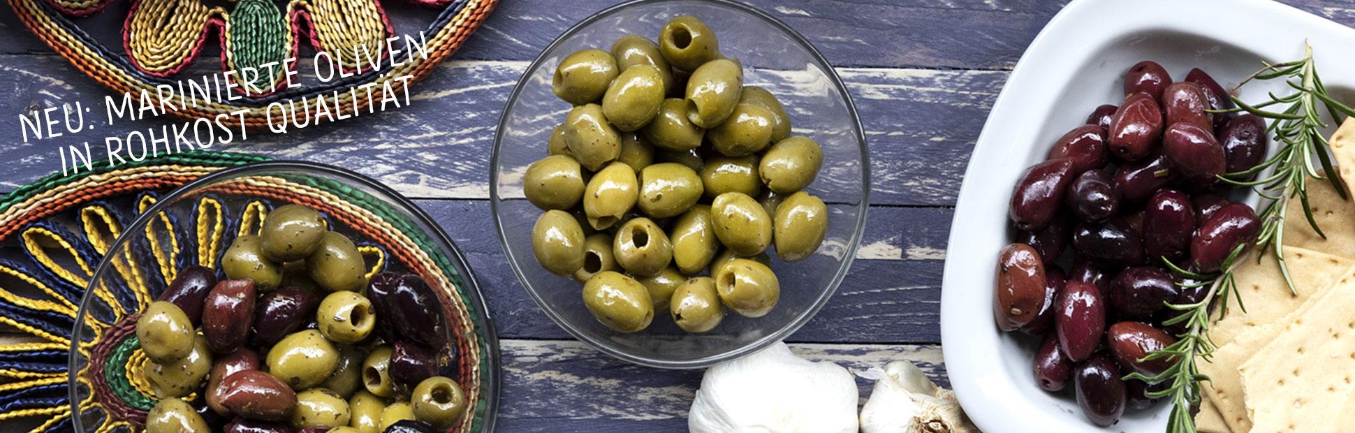 Oliven in Rohkost-Qualität