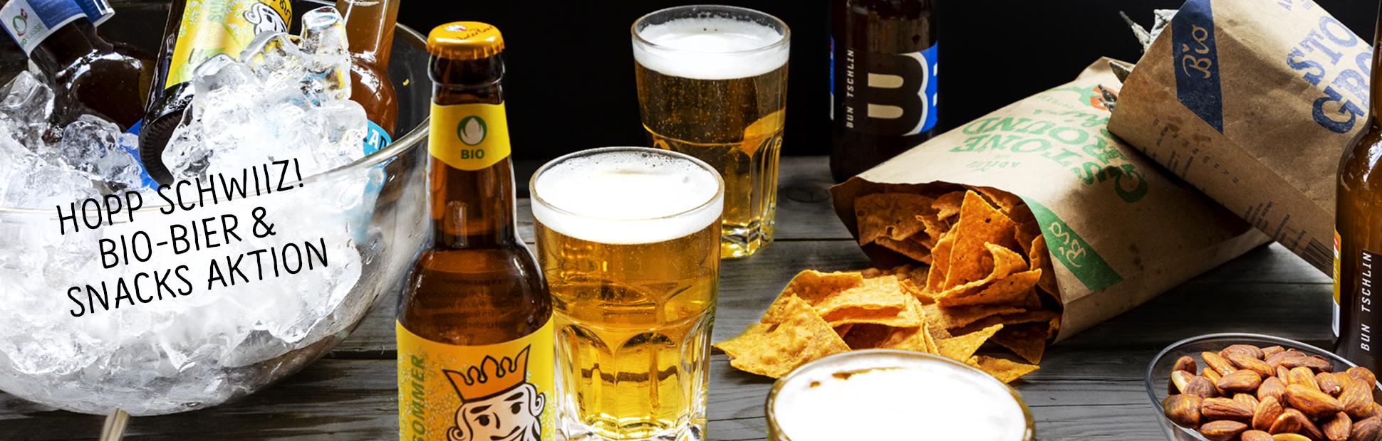 Bio-Bier und Snacks Aktion